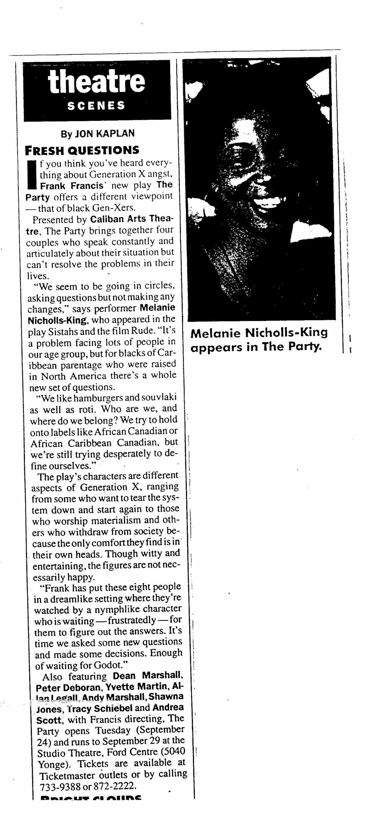 The Party review Now Magazine 1996