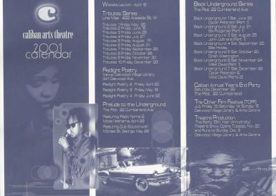 caliban theatre 2001 calendar front